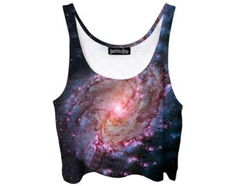 Warped Black Hole Crop Top - Galaxy Festi Fashion - Twisted Spiral Galaxy - Pastel Goth Belly Shirt - EDM Tank