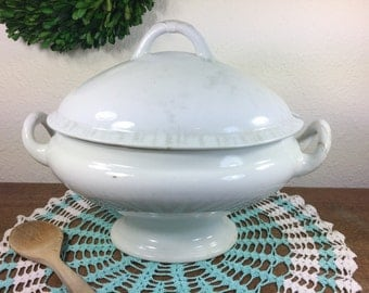 Ironstone Tureen *FREE SHIPPING* Antique Powell & Bishop White Footed Ironstone Tureen