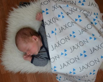 Personalized tribal triangle baby name swaddle blanket: baby and toddler personalized name newborn hospital gift baby shower gift