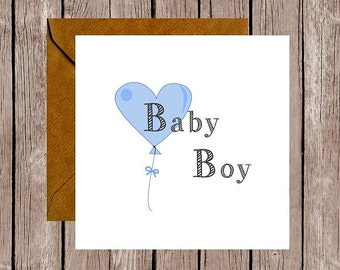 Balloon Baby Boy Card, New Baby Card, Baby Card, Unique Baby Card, Cute Baby Card,