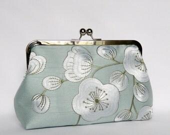 Ice Blue Clutch, Bridal Silk Clutch, Silk Clutch, Wedding Clutch, Silk Evening Clutch, Floral Silk Clutch, UK