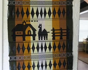 Large Peruvian, vintage fiber textile art, wall hanging, retro 1970's bohemian modern, boho chic