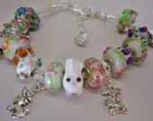 Hippity Hoppity Easter European charm beautiful Murano beads bracelet Glass Rabbits Bunny bead Crystals You pick size Help save a cat/kitten