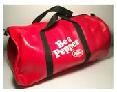 "1970s ""Be A Pepper"" Dr Pepper Gym Bag, NEW Vintage, Unused Bright Red Naugahyde Soda/Cola/Soft Drink Bag, Coke Product Advertising Campaign"