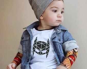 Geometric Batman Mask Toddler Infant Adult Shirt Onesie Monochrome