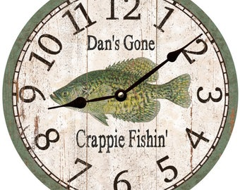 Personalized Gone Crappie Fishing Clock