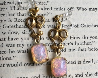 Art Nouveau Heart Pink Fire Opal Invisible Resin Clip On Earrings / Bridal Clip Earring / Dangle Clipon