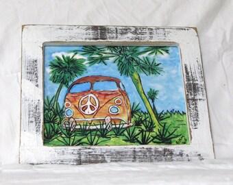 "VW...VW Art/vw Surf Bus/vw Surf art Bus/vw art print/vw painting/waterproof/indoor-outdoor-Art/VW bus 1960 hippie vw bus...Framed 11"" x 13"""