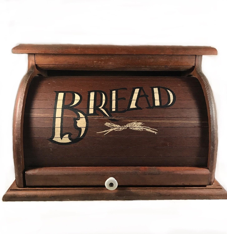 Wooden Bread Box Rustic Wood Roll Top Bread Box