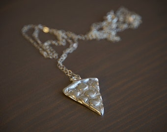 Pizza Pendant Necklace - Sterling Silver