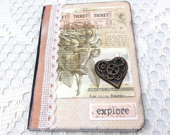 Explore Mini Journal - Vintage Mini Journal - Small Vintage Journal - Mini Journal - Small Notebook - Pocket Notebook - Steampunk Accents