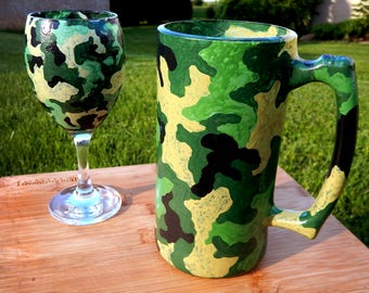 Camouflage Wine Glass or Beer Mug - Hand Painted