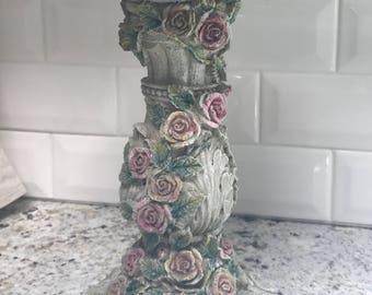 Rose Vine Sculptural Pedestal Stand- Birdbath - Candleholder - Centerpiece
