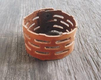 Leather Cuff Bracelet. Tan Oil Leather Bracelet.