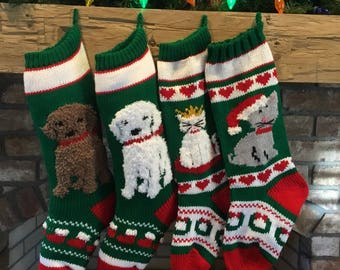 Hand Knit Dog and Cat Christmas Stockings