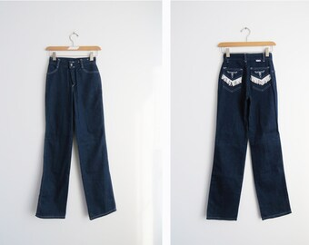 Western High Waist Jeans // Extra Small 1960's Vintage Rodeo Denim // Vintage Clothing