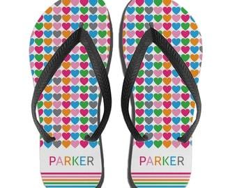 Girls Beach Sandals, Summer Sandals for Girls, Personalized Kids Flip Flops, Custom Heart Sandals