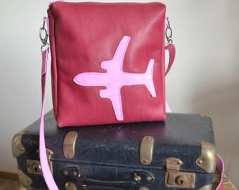 Model Airborn - Soft Cow Leather Messenger Bag - pink fuchsia colored leather plane stewardess