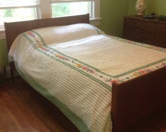"Full / Double Chenile white Bedspread with multi flower border edged in green. 82"" x 101"" - hard-to-see repair to top edge"