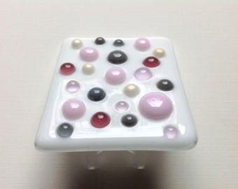 Pink, Fused Glass, Dot, Nursery, Night Light, Gray, Polka Dot