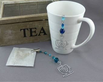 TWO Tea Bag Steepers - Clip for Tea Bags with Silver Tea Cup and Beads - Hostess Gift Steeped Tea Bag Clip