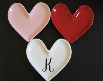 Monogram Heart Dish, Pink, Red, Or White - Personalized Ring Dish, Monogrammed, Heart Shaped Dish,  Valentines Day Gift, Personalized