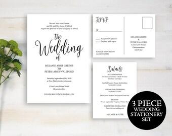 Wedding Invitation, Invitation Template, Printable Wedding Invite Template, Wedding Invitation Set, Wedding Invite, Instant Download, MM02-1