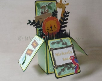 Zoo Animals Themed 3d Pop Up Birthday Card