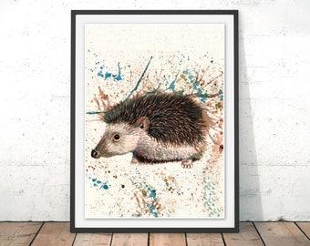 Hedgehog Art Print Hedgehog Illustration Garden Wildlife wall art Watercolour Hedgehog Porcupine drawing Hedgehog Gift Print