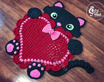 READY TO SHIP! Kitty Love Rug. Hand Crocheted. Baby Shower. Housewarming Gift. Crochet Cat Rug. Heart Rug. Valentine. Unique Item. Sale.