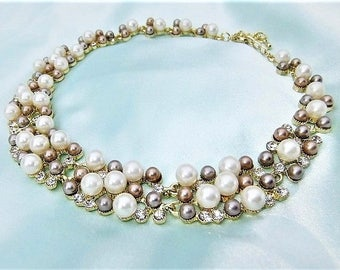Pearl Necklace Collier cream white pink beige rhinestone necklace beads