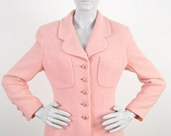1990 Chanel Suit Millennials Pink Nubby Wool Boucle Logo