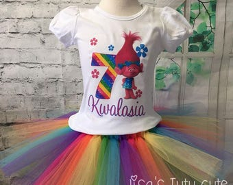 trolls birthday outfit, poppy birthday outfit, poppy birthday shirt, poppy tutu, trolls birthday tutu, trolls birthday shirt, trolls party