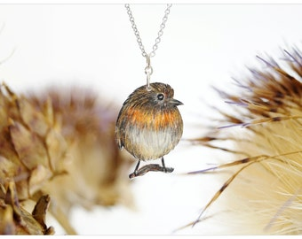 Robin chain, robin necklace, redbreast chain, redbreast necklace, hand drawn jewelry, bird jewelry, redbreast pendant, handmade