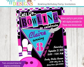 Retro Bowling Party Invitation Girl Printable Invite
