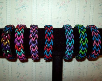 Rainbow Loom Rafyael Style Rubber Band Bracelet - Choice of a Variety of Multi Colors with Black.