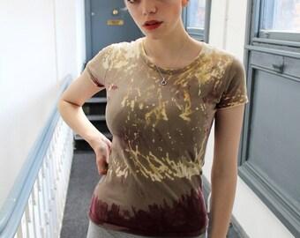 Brown Beige Tie Dye Bleach T Shirt Alternative Indie Punk