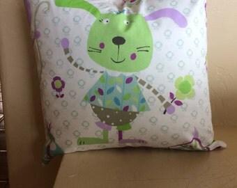 Bunny pillow cover, spring pillow cover, childrens pillow cover, accent pillow , throw pillow , decorative pillow cover . Sham.