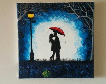 Original Couple kissing in the rain wall art,couple with red umbrella painting,couple silhouette painting,Kiss art,Birthday Gift for her
