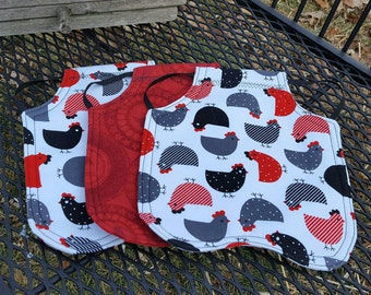 Bantam and Standard size Chicken Apron/Hen Saddle.  Quantity of 3.