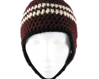 Mountain Beanie - Crochet Hat - Burgundy, cream and black