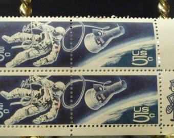 Gemini Space Walk Stamps- 1967 block of 4 5c stamps, unused in protective envelope