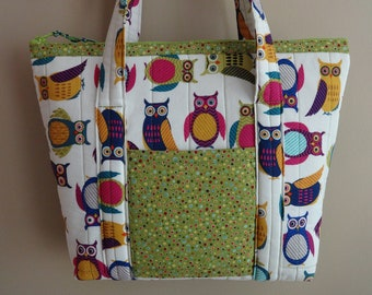 Owls quilted pocketbook, quilted purse, zipper closure, diaper bag, quilted tote, shoulder straps, medium size handbag, pink, purple, green