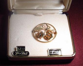 Van Dell 14K Gold Overlay Brooch With Genuine Diamonds - New In Original Box - Never Worn - Original Price 67.50 - FREE SHIPPING.