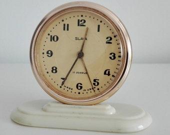 Slava USSR Russian Soviet vintage mechanical table alarm clock NOT WORKING 11 jewels (rubies) 60s