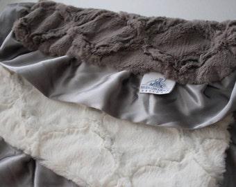 Ivory Embossed Lattice with Oyster Gray Embossed Lattice LOVIE Blanket, Gray Satin Trim - Baby Girl or Boy, Crib Bedding