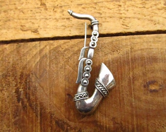 Vintage Sterling Silver Marcasite Saxophone Pin - Marcasite Silver Sax Horn Brooch - Jazz Pin