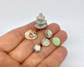 Miniature 1/2 1:24 24th Half Inch Scale Vintage Shabby Chic Cupcake 3 Plate Stand, Plate With 4 Cakes & 4 Side Plates For Dollhouse OOAK