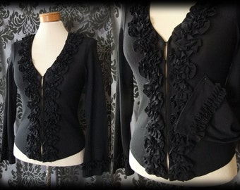 Gothic Black Frilled Hook Up NEFARIOUS Fitted Top Blouse 6 8 Victorian Vintage