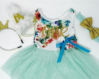 Mint First Birthday Outfit   Floral Dress First Birthday Outfit   Spring First Birthday   Mint and Gold First Birthday Tutu Dress